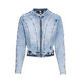 Jeansjacke mit Loch-Struktur, bleached denim