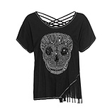 Shirt mit Totenkopf-Motiv, schwarz