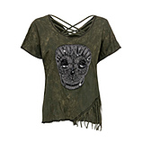 Shirt mit Totenkopf-Motiv, khaki