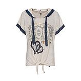 Shirt mit Front-Design, sand/ denim