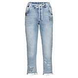 Jeans mit Schmetterlings-Motiv, bleached denim