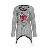 Shirt mit Pailletten-Herz, hellgrau-melange