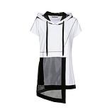 COSY Shirt mit Netz, schwarz-weiß