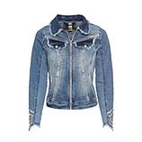 Jeansjacke mit Perlen, light blue denim
