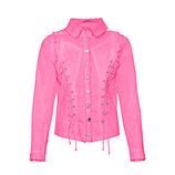 Jeansjacke mit Kreuzschnürung, pink glow