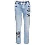 Schlupf-Jeans mit Print, bleached denim