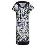 Kleid im Alloverprint, schwarz-weiß/ neon grün