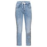 Schlupf-Jeans mit Ziersteinen, light blue