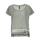 Shirt mit Netzsaum, salbei