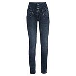 High-Waist Jeans mit Glitzersteinen, dark blue denim