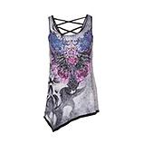 Shirt im asymmetrischen Schnitt, grau/ lila