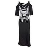 Maxi-Kleid mit rockigem Print, schwarz