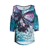 Oversize-Shirt mit Cut-Outs, ocean/ lilac