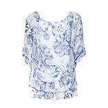 Bluse im Alloverprint, weiß-blau
