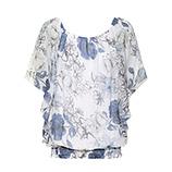Bluse im Floral-Print, blau-weiß