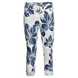 Hose im Floral-Print, weiß-blau