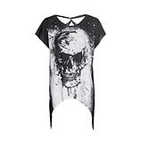 Shirt mit Totenkopf, schwarz