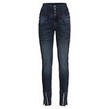 High-Waist Jeans mit Galonstreifen, dark blue denim