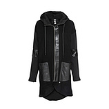 Mantel mit Veggie-Leder, schwarz