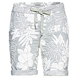 Shorts im floralen Print, weiß-grau