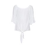 Knoten-Bluse mit Carmen-Ausschnitt, weiß