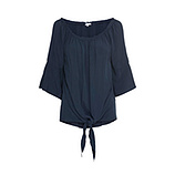 Knoten-Bluse mit Carmen-Ausschnitt, navy