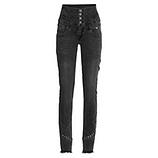 High-Waist Jeans Doppelbund, dark grey denim