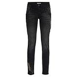 Jeans Doppelbund mit Ziersteinen, black denim