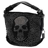Handle-Bag in Suede-Optik, schwarz