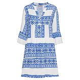 Kleid im Alloverprint, weiß-blau