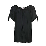 Bluse mit Crincle-Struktur, schwarz