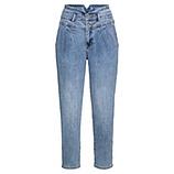 High Waist Retro Jeans mit Falten-Bund, light blue denim
