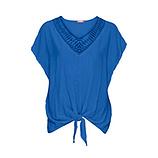 Bluse mit Häkelspitze, blue glow