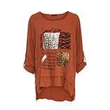 Bluse mit Animal-Patches, burnt orange
