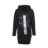 Hoodie mit metallic-Print, schwarz