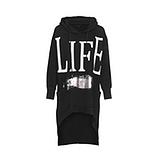 Long-Shirt mit Print, schwarz