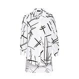Baumwoll-Bluse mit Print, weiß