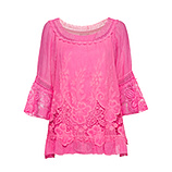 Bluse mit Stickerei, pink glow