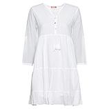 Midi-Kleid mit Volants, weß