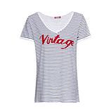 Shirt Vintage, weiß-blau