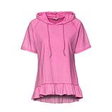 Shirt mit Volant-Saum, pink glow