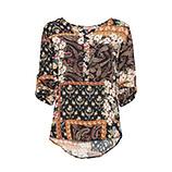 Bluse mit Paisley-Print, schwarz