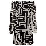 Plissee-Kleid, sand-schwarz
