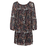 Plissee-Kleid, schwarz-porto