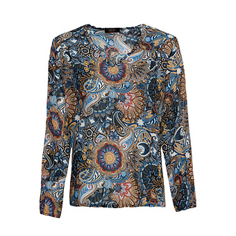Bluse im Alloverprint, navy