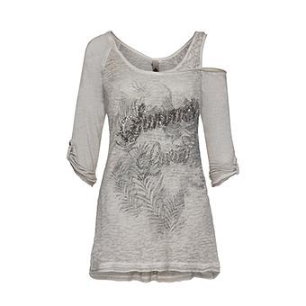 Shirt mit Frontverzierung 3/4 Arm, asche