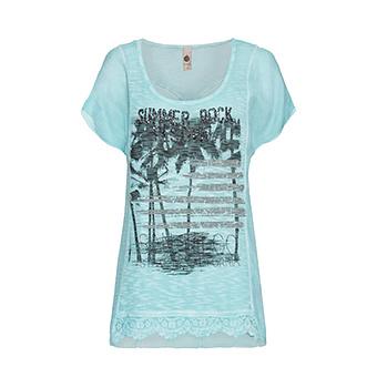Oversized Shirt mit Frontschmuck, ozean
