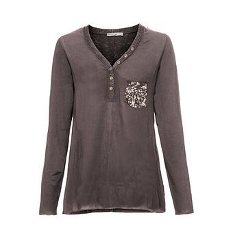 Basic Shirt mit Pailletten, antikrose