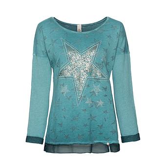 Sweatshirt mit Stern-Optik, smaragd