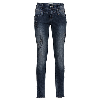 Used-Jeans mit Glitzersteinen, denim